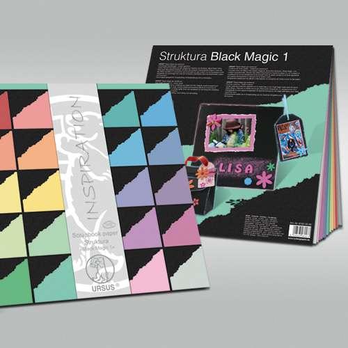 "URSUS® Struktura ""Black Magic"" Scrapbook paper, Sortiment"