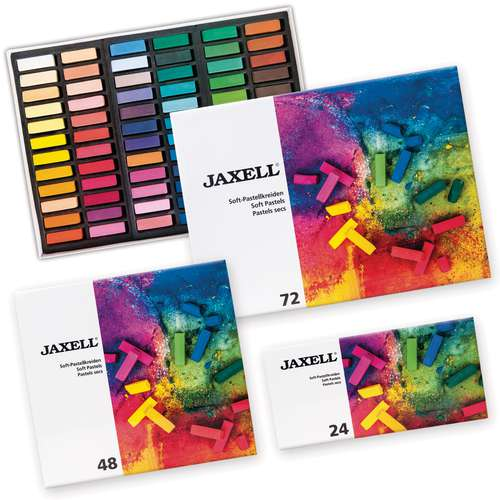 JAXELL® Soft Pastellkreiden, Etuis mit halben Kreiden