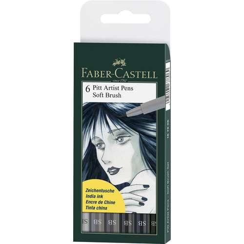 FABER-CASTELL Tuschestift PITT artist pen Soft Brush 6er Set