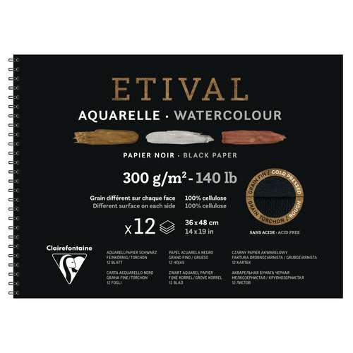 CLAIREFONTAINE ETIVAL Aquarellblock Noir